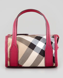 Burberry Girls' Check Leather-Trim Bowling Bag, Rhubarb Pink