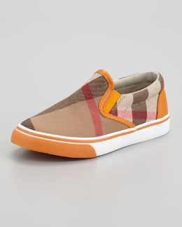 Burberry Orange Check Slip On Sneaker, Kids Sizes
