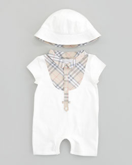 Burberry Check Bib Playsuit & Sun Hat Set