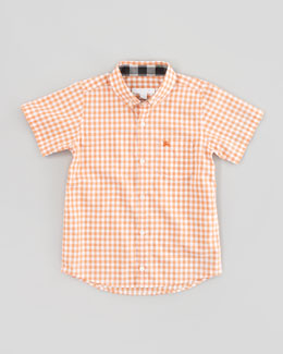 Burberry Gingham-Check Short-Sleeve Shirt, Clementine, Kid's Sizes