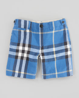 Burberry Mini Check Shorts, Cornflower Blue