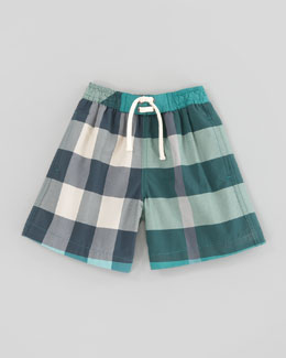 Burberry Veridian Green Mini Check Swim Trunks, Kids Sizes