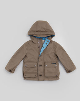Burberry Lightweight Rain Jacket, Pale Birch Gray