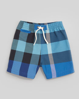Burberry Mini Check Pocket Swim Shorts, Cobalt/Turquoise