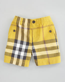 Burberry Mini Check Shorts, Gorse Yellow