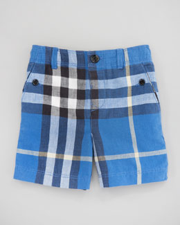 Burberry Mini Cornflower Blue Voile Check Shorts