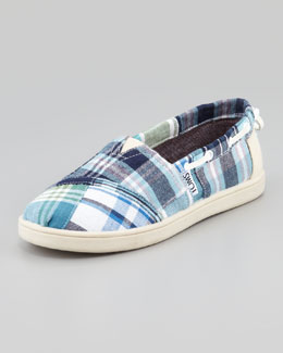 TOMS Bimini Blue Madras Boat Shoe, Youth