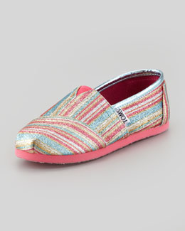 TOMS Youth Classic Glitter Striped Slip-On, Pink
