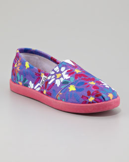 TOMS Daisy Print Slip-On, Youth