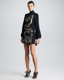 Emilio Pucci Embroidered High-Neck Tunic Dress