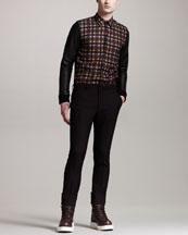 Givenchy Leather-Sleeve Plaid Shirt & Wool Trousers