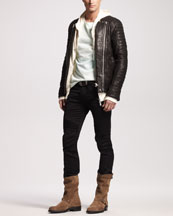 Leather Biker Jacket, Zip Hoodie, Pique-Knit Tee & Biker Pants
