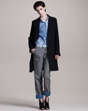 Maison Martin Margiela Padded Wool Coat, Denim-Print Silk Shirt & Denim-Trim Leather Pants