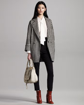 Chloe Double-Breasted Check Coat, Silk Tie-Neck Blouse & High-Waist Wool Pants