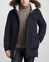 Moncler Dimont Fur-Trim Parka & Cable-Knit Turtleneck