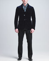 Giorgio Armani Velvet Shawl-Collar Jacket, Stretch-Silk Mandarin-Collar Shirt & Flat-Front Trousers