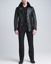 Giorgio Armani Crocodile-Embossed Lambskin Jacket, Short-Sleeve V-Neck Tee & Raised-Seam Trousers