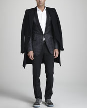 Lanvin Cut-Collar Coat, Patterned Silk Evening Jacket & Satin-Waist Pants