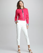3.1 Phillip Lim Metallic-Trim Silk Shirt & Cropped Pencil Trousers