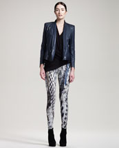 Helmut Lang Thin Supple Leather Jacket, Soft Shroud Top & Pheasant-Print Reflex Leggings