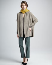 Vince Loose Cable-Knit Cardigan, Trapunto-Placket Top, Fringe Scarf & Side-Strap Trousers