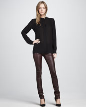 Vince Silk Blouse & Leather Pants