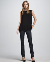 Vince Bead-Trim Silk Top & Dark Skinny Jeans