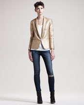 Rag & Bone Sliver Metallic Tuxedo Jacket, Classic Beater Tank & Ripped Skinny Hampstead Jeans