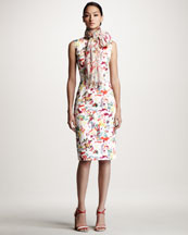 Carolina Herrera Lovers Print Sheath Dress & Scarf