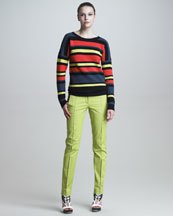 Jason Wu Crochet-Striped Pullover & Classic Stovepipe Pants