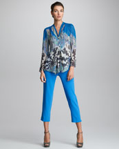 Etro Flat Front Cropped Pants & Printed V Neck Blouse