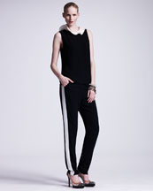 Lanvin Ruffle-Collared Sleeveless Blouse & Tuxedo-Striped Cuffed Pants