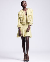 Lanvin Cropped Fringe-Trimmed Tweed Jacket & Flounce Dress
