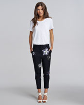 3.1 Phillip Lim Embroidered Jersey Top & Cropped Pants