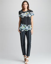 3.1 Phillip Lim Floral/Stripe-Print Tee & Cropped Trousers