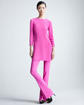 Ralph Lauren Collection Marcy Three-Quarter-Sleeve Silk Tunic & Sylvia Wide-Leg Silk Pants,