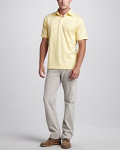 Ermenegildo Zegna Stretch-Knit Polo & Straight-Leg Beige Jeans