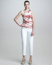 Jean Paul Gaultier Graffiti-Print Top & Slim Stretch Cotton Pants