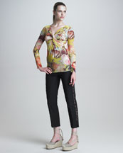 Jean Paul Gaultier Long-Sleeve Knotted Floral-Print Shirt & Lace-Striped Slim Pants