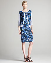 Erdem Una Floral Cardigan & Corel Jersey Dress