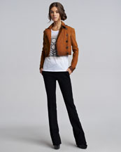 Burberry Prorsum Nubuck Flight Jacket, Logo Tee & Boot-Cut Pants