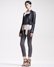 Belstaff Cropped Motorcycle Jacket, Silk Tie Blouse & Slim Jacquard Pants