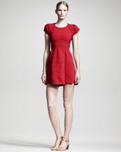 Valentino Ribbed Cap-Sleeve Shrug & Fit-and-Flare Dress