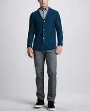 Lanvin Three-Button Cashmere Jacket, Contrast-Trim Check Shirt & Grosgrain-Waist Pants