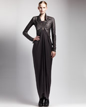 Rick Owens High-Low Leather Jacket & Jersey Kite Dress