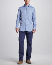 Ermenegildo Zegna Linen Sport Shirt & Stretch-Twill Five-Pocket Pants