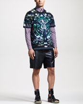 Givenchy Columbian-Fit Plane-Fit Tee, Slim Check Shirt & Leather-Front Bermuda Shorts