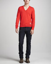 Alexander McQueen Cashmere V-Neck Sweater & Dark Harness Jeans