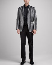 Etro Paisley-Stripe Evening Jacket, Camo-Print Sport Shirt & Piped Evening Pants