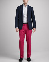 Etro Grosgrain-Trim Blazer, Sea Life Sport Shirt & Flat-Front Cotton Pants